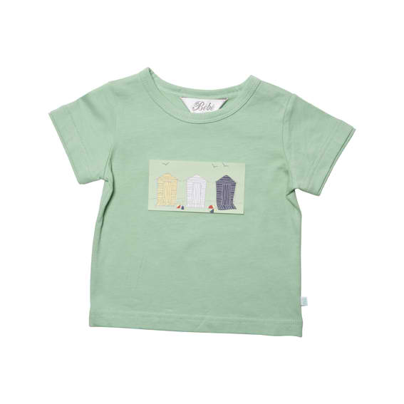 Bebe Green T-shirt With Beach Huts