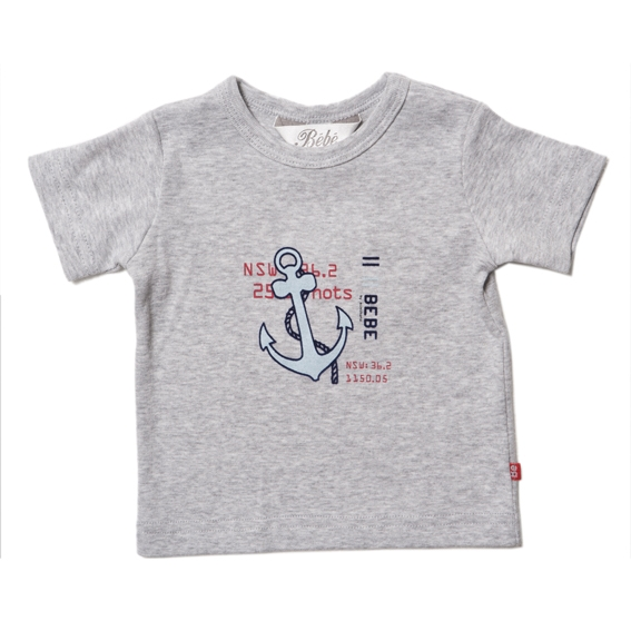Bebe Grey T-shirt with Anchor Design