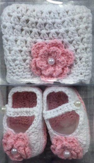 Girls Flower Beanie & Shoes