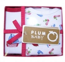 Plum Baby T-shirt and Bib set