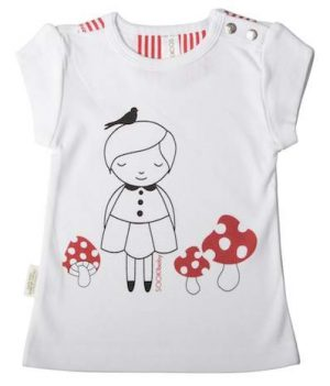 Sooki Baby T-shirt with Little Girl And Mushrooms